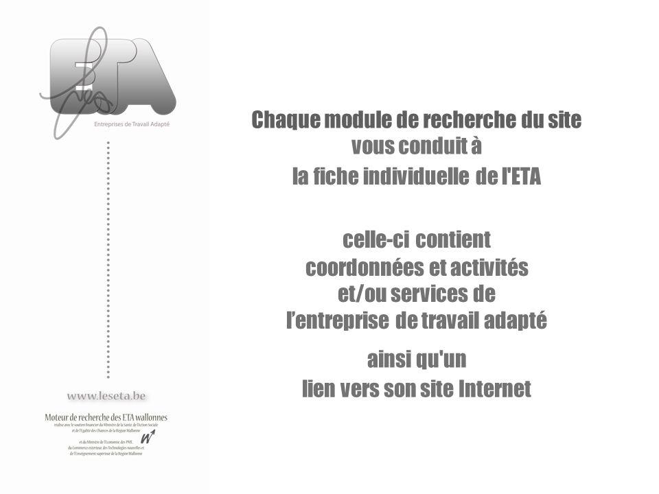 Chaque module de recherche du site vous conduit à la fiche individuelle de l'ETA celle-ci contient coordonnées et activités et/ou services de lentrepr