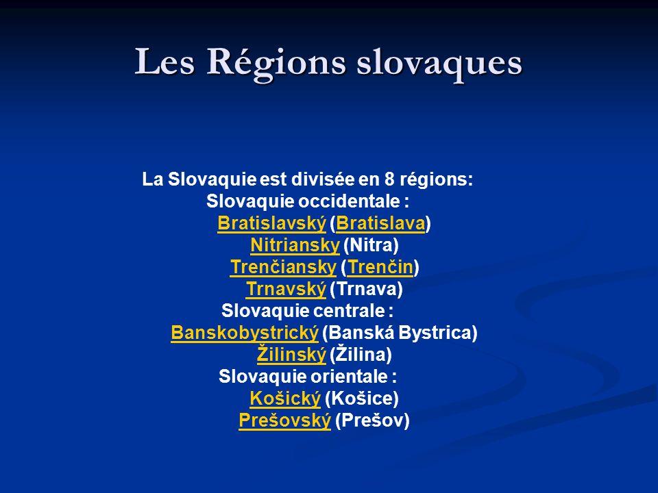 Les Régions slovaques La Slovaquie est divisée en 8 régions: Slovaquie occidentale : BratislavskýBratislavský (Bratislava)Bratislava NitrianskyNitrian