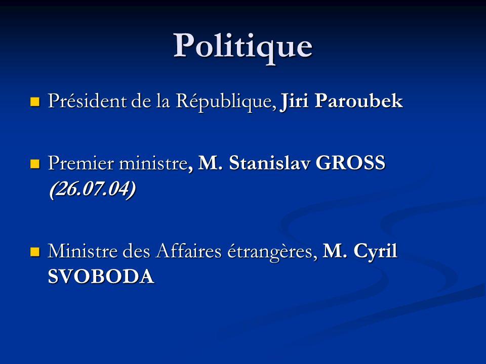 Politique Président de la République, Jiri Paroubek Président de la République, Jiri Paroubek Premier ministre, M. Stanislav GROSS (26.07.04) Premier