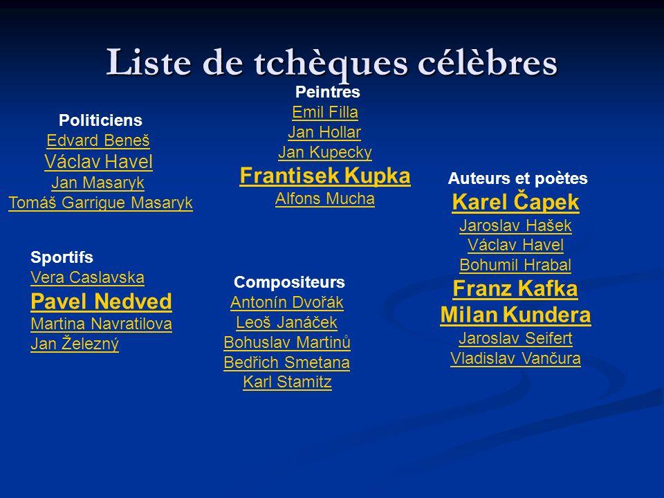 Liste de tchèques célèbres Politiciens Edvard Beneš Václav Havel Jan Masaryk Tomáš Garrigue Masaryk Auteurs et poètes Karel Čapek Jaroslav Hašek Václa