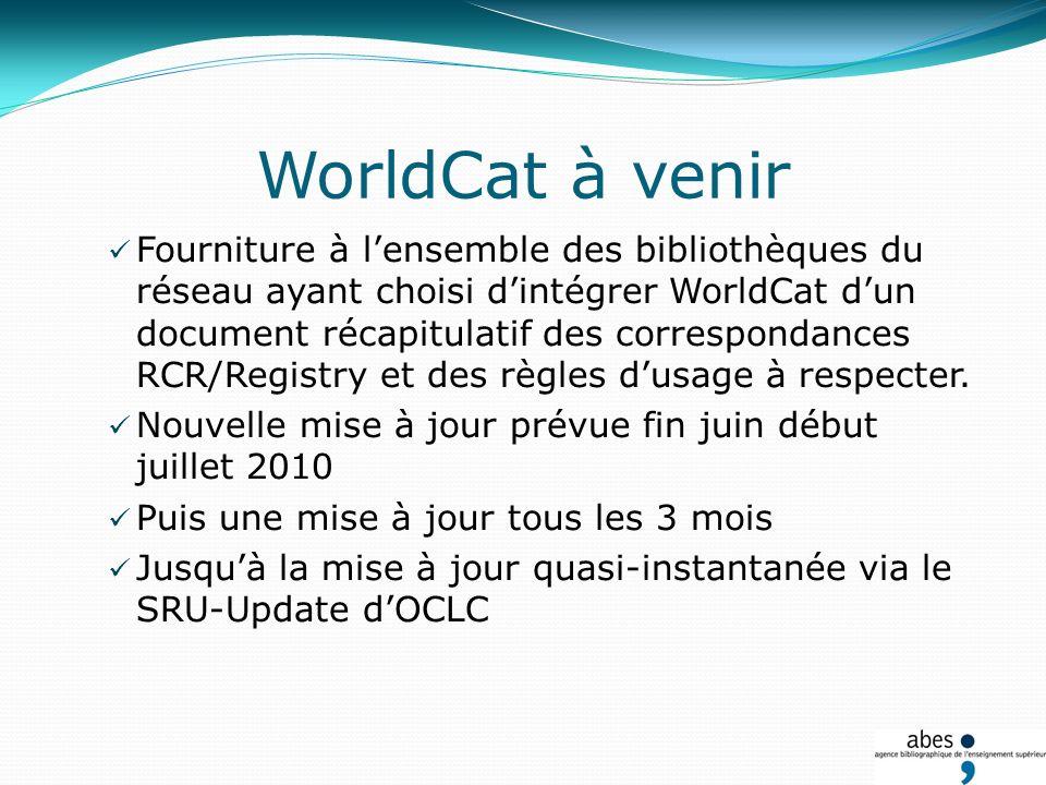 WorldCat à venir Fourniture à lensemble des bibliothèques du réseau ayant choisi dintégrer WorldCat dun document récapitulatif des correspondances RCR/Registry et des règles dusage à respecter.