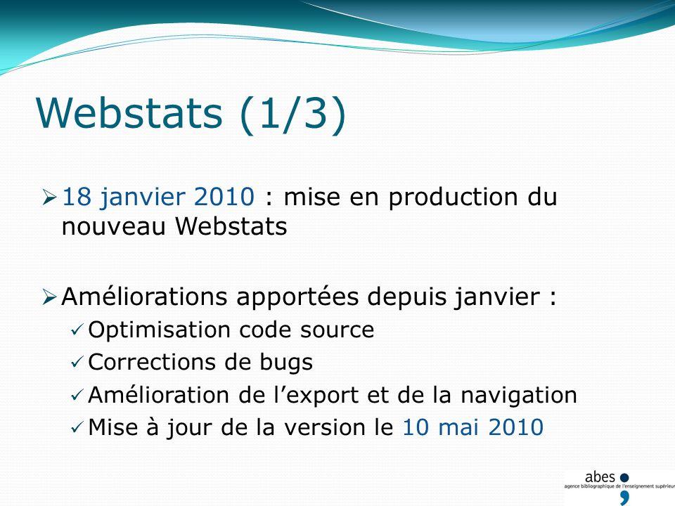 Webstats (1/3) 18 janvier 2010 : mise en production du nouveau Webstats Améliorations apportées depuis janvier : Optimisation code source Corrections de bugs Amélioration de lexport et de la navigation Mise à jour de la version le 10 mai 2010