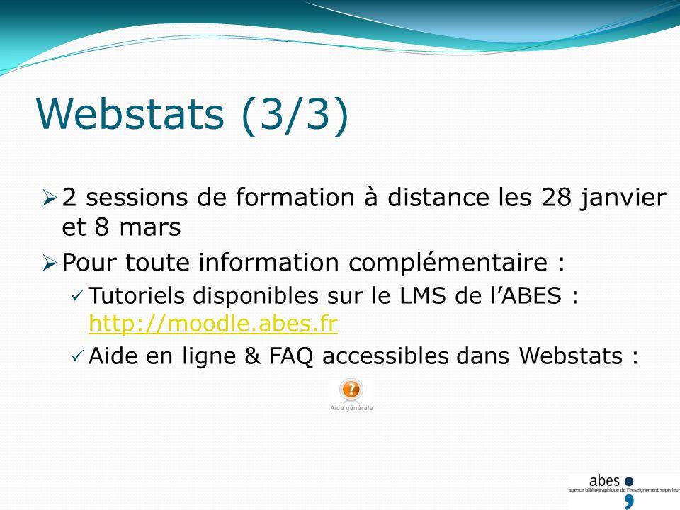 2 sessions de formation à distance les 28 janvier et 8 mars Pour toute information complémentaire : Tutoriels disponibles sur le LMS de lABES : http://moodle.abes.fr http://moodle.abes.fr Aide en ligne & FAQ accessibles dans Webstats : Webstats (3/3)