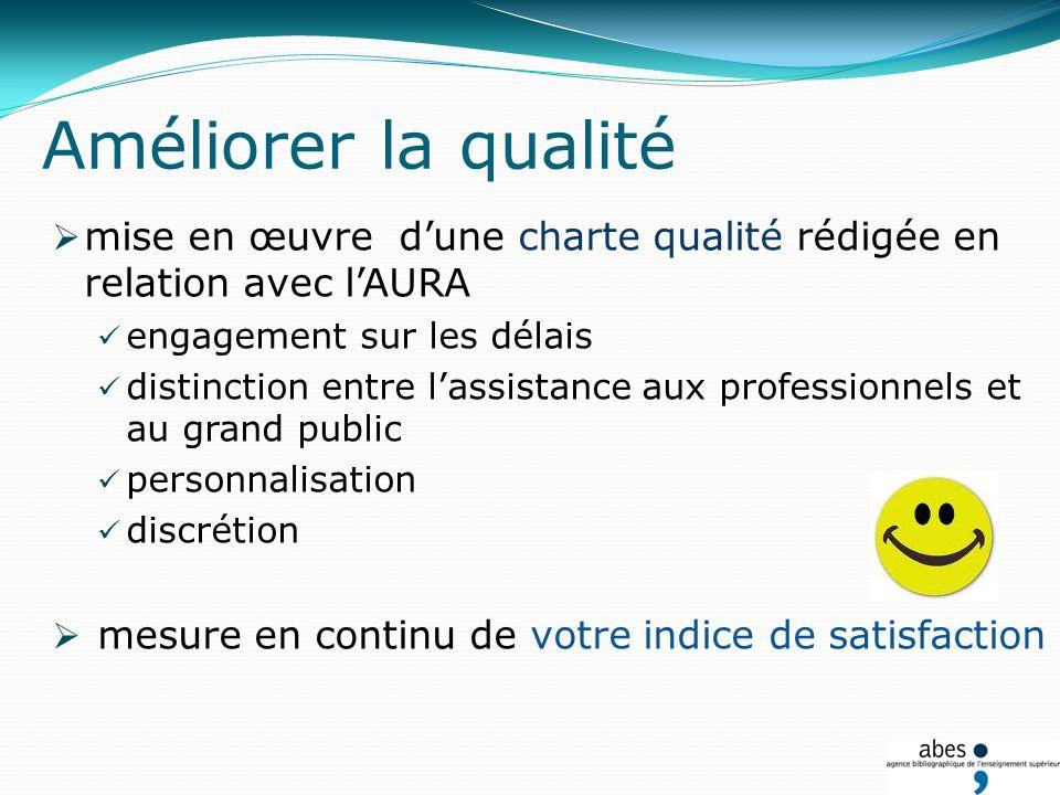 mise en œuvre dune charte qualité rédigée en relation avec lAURA engagement sur les délais distinction entre lassistance aux professionnels et au grand public personnalisation discrétion mesure en continu de votre indice de satisfaction Améliorer la qualité