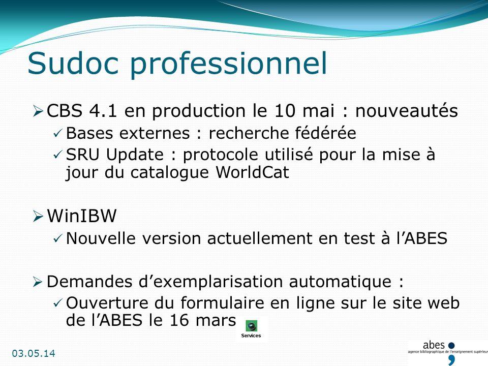 Test de la nouvelle version 4.5 : Ajout de fonctionnalités au PEB (demande libre, liste de fournisseurs) Optimisation du temps daffichage des pages Interrogation via SRU (Search & Retrieve URL) Mise en production prochainement Sudoc public (1/3)