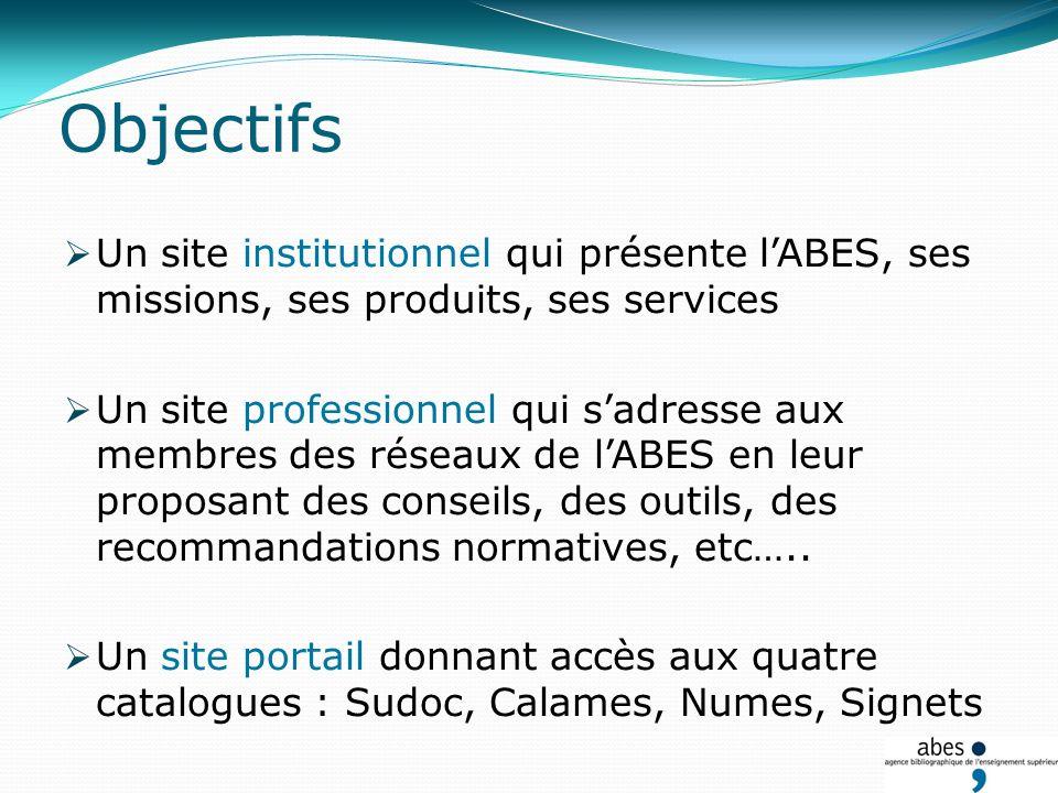 Objectifs Un site institutionnel qui présente lABES, ses missions, ses produits, ses services Un site professionnel qui sadresse aux membres des réseaux de lABES en leur proposant des conseils, des outils, des recommandations normatives, etc…..