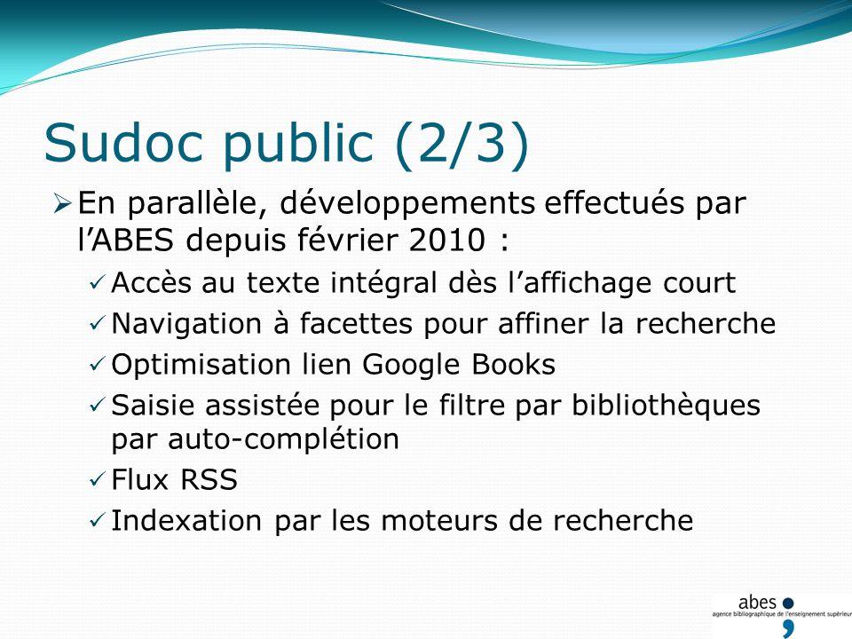 Lancement dun projet en partenariat avec lUNPIdF pour la mise en place dune version mobile Opac personnalisés : A la demande des établissements Dans le cadre de la mise en place des plans de conservation partagés Sudoc public (3/3)