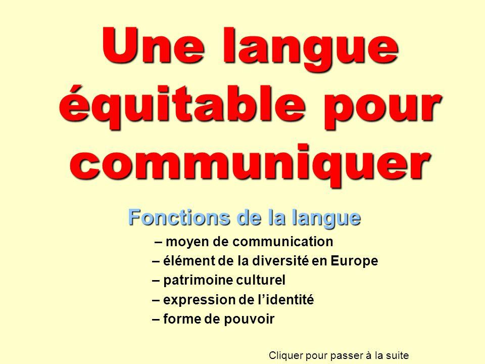 Une langue équitable pour communiquer Fonctions de la langue – moyen de communication – élément de la diversité en Europe – patrimoine culturel – expr