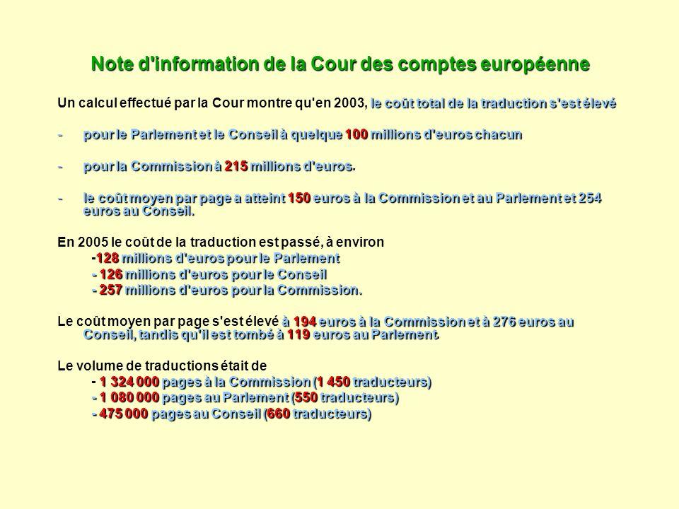 Note d'information de la Cour des comptes européenne le coût total de la traduction s'est élevé Un calcul effectué par la Cour montre qu'en 2003, le c