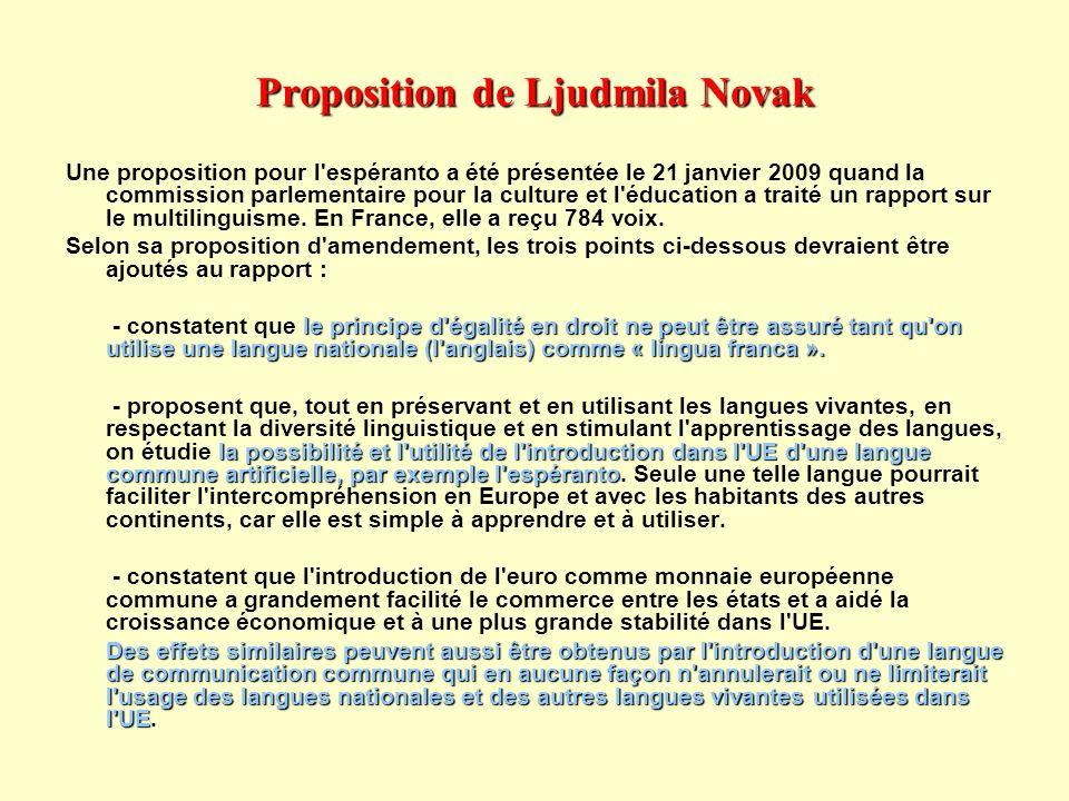 Proposition de Ljudmila Novak Une proposition pour l'espéranto a été présentée le 21 janvier 2009 quand la commission parlementaire pour la culture et