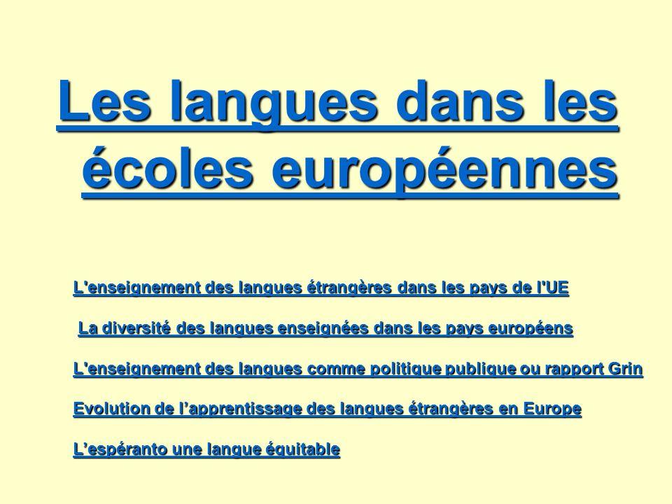 Les langues dans les écoles européennes Les langues dans les écoles européennes L'enseignement des langues étrangères dans les pays de l'UE L'enseigne
