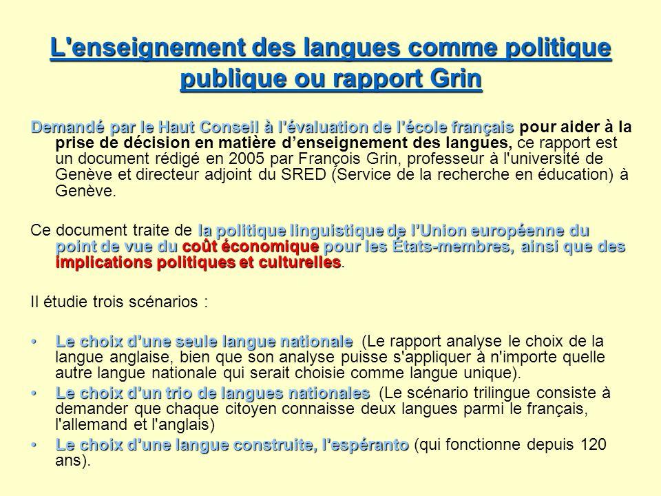 L'enseignement des langues comme politique publique ou rapport Grin L'enseignement des langues comme politique publique ou rapport Grin Demandé par le