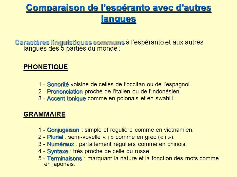 Comparaison de lespéranto avec d'autres langues Comparaison de lespéranto avec d'autres langues Caractères linguistiques communs Caractères linguistiq