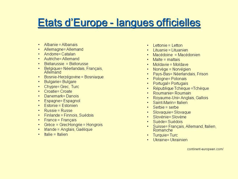 Etats dEurope - langues officielles Etats dEurope - langues officielles Albanie = Albanais Allemagne= Allemand Andorre= Catalan Autriche= Allemand Bié