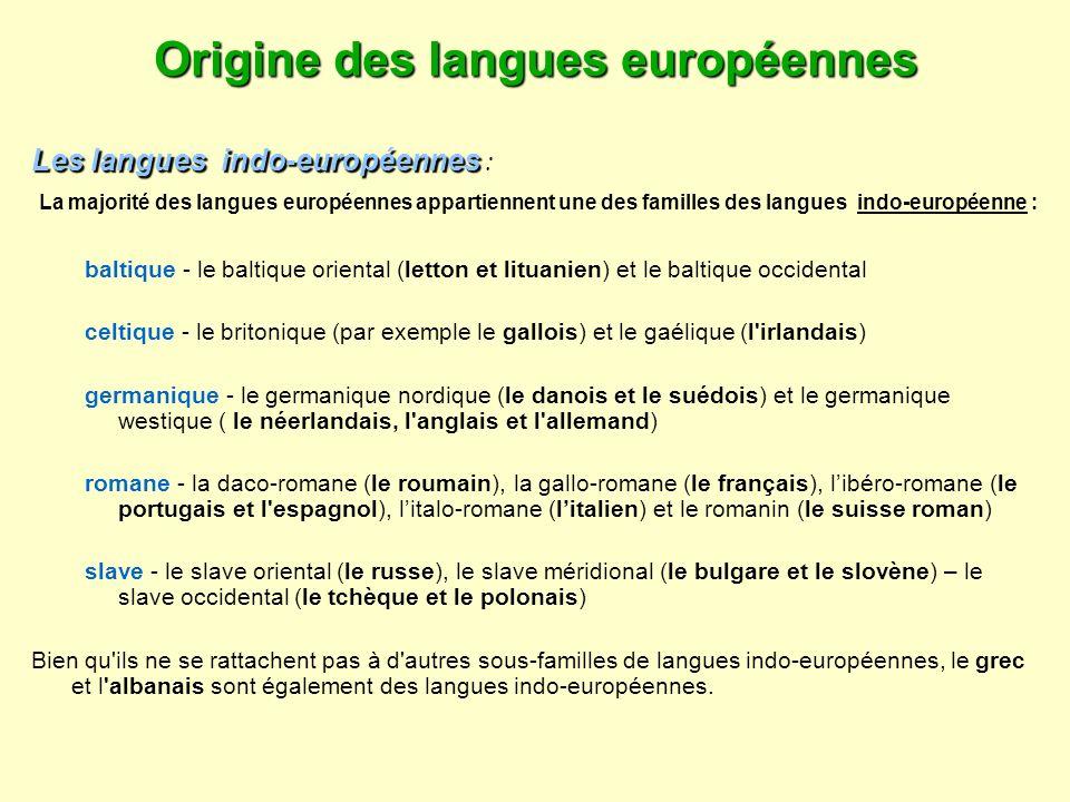 Origine des langues européennes Les langues indo-européennes Les langues indo-européennes : La majorité des langues européennes appartiennent une des