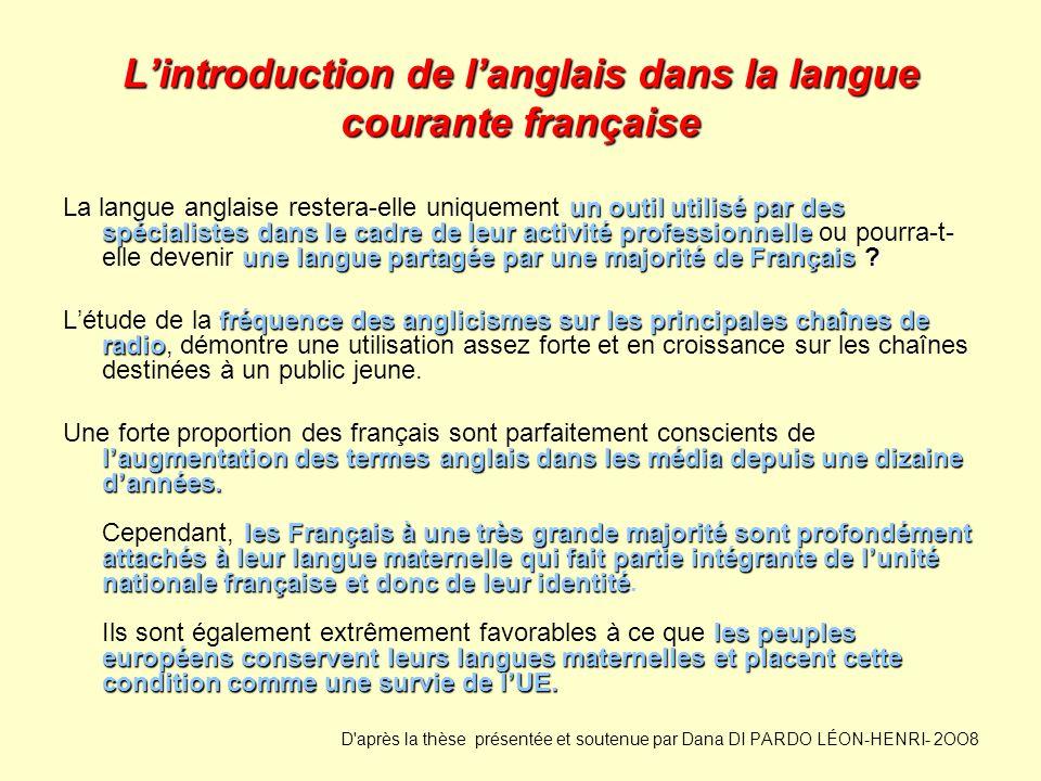 Lintroduction de langlais dans la langue courante française un outil utilisé par des spécialistes dans le cadre de leur activité professionnelle une l
