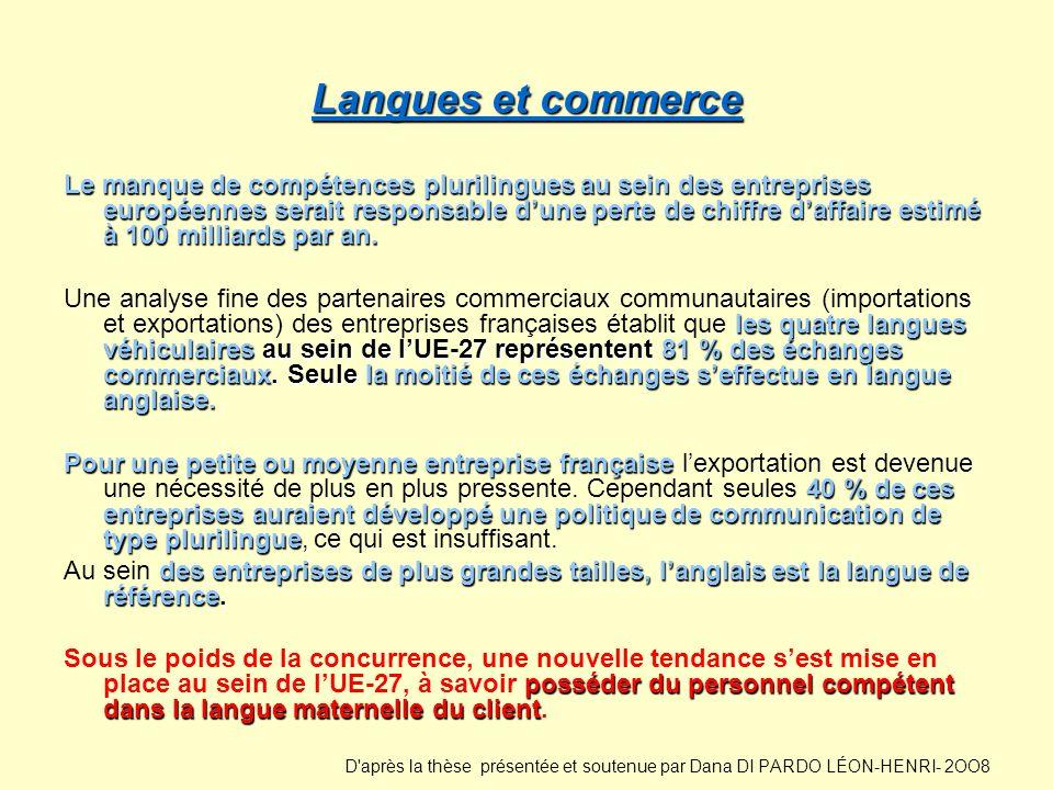 Langues et commerce Langues et commerce Le manque de compétences plurilingues au sein des entreprises européennes serait responsable dune perte de chi