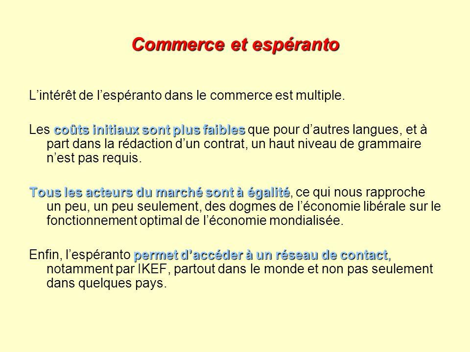 Commerce et espéranto Lintérêt de lespéranto dans le commerce est multiple. coûts initiaux sont plus faibles Les coûts initiaux sont plus faibles que
