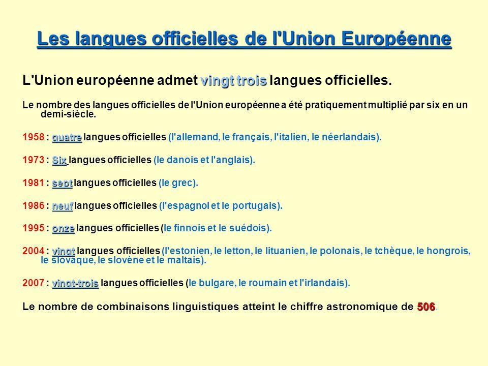 Les langues officielles de l'Union Européenne Les langues officielles de l'Union Européenne vingt trois L'Union européenne admet vingt trois langues o