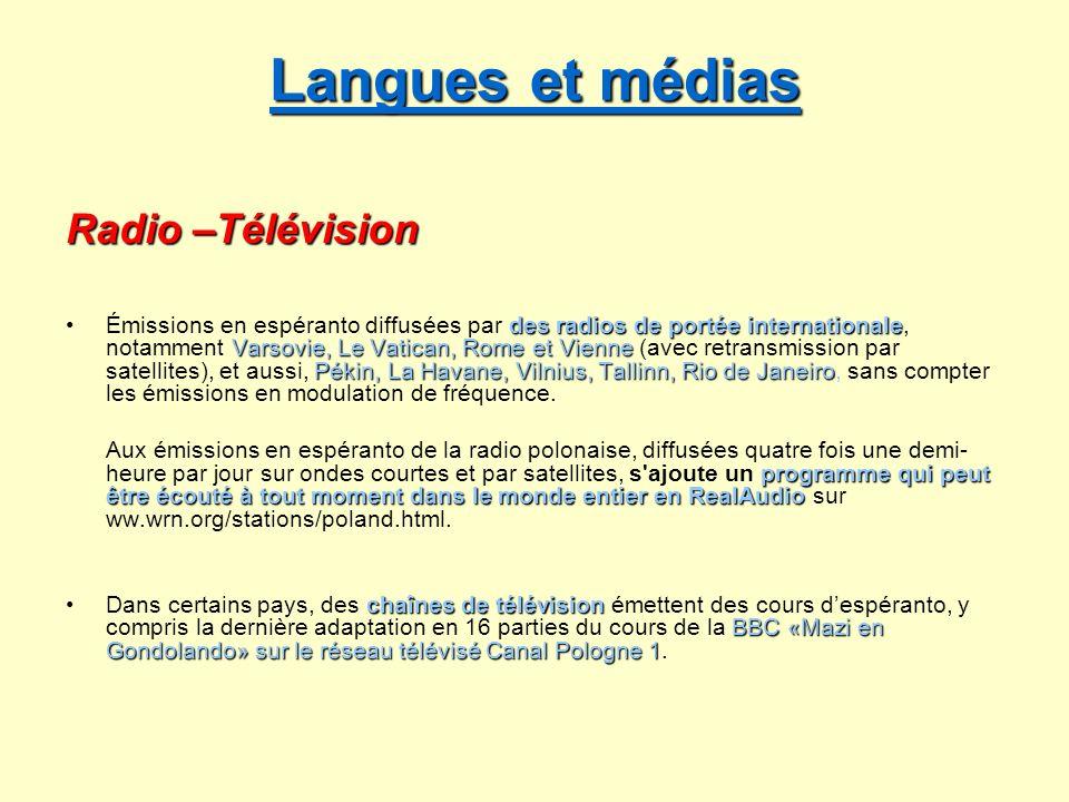 Langues et médias Langues et médias Radio –Télévision des radios de portée internationale Varsovie, Le Vatican, Rome et Vienne Pékin, La Havane, Vilni