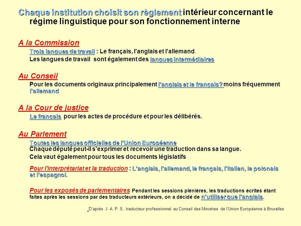 Chaque institution choisit son règlement Chaque institution choisit son règlement intérieur concernant le régime linguistique pour son fonctionnement