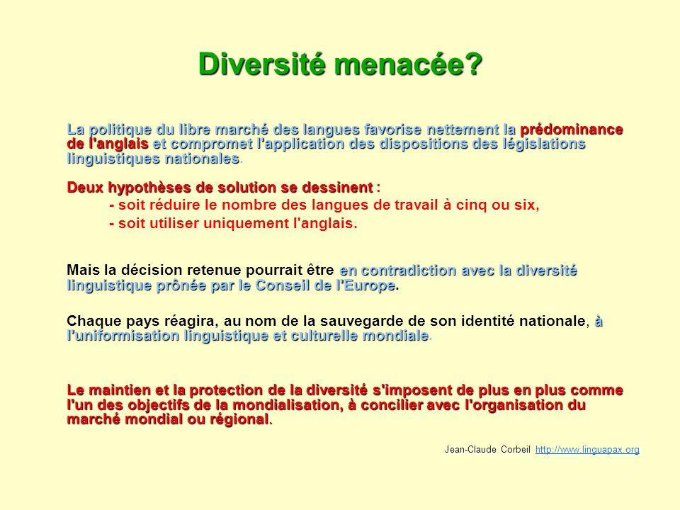 Diversité menacée? La politique du libre marché des langues favorise nettement la prédominance de l'anglais et compromet l'application des disposition