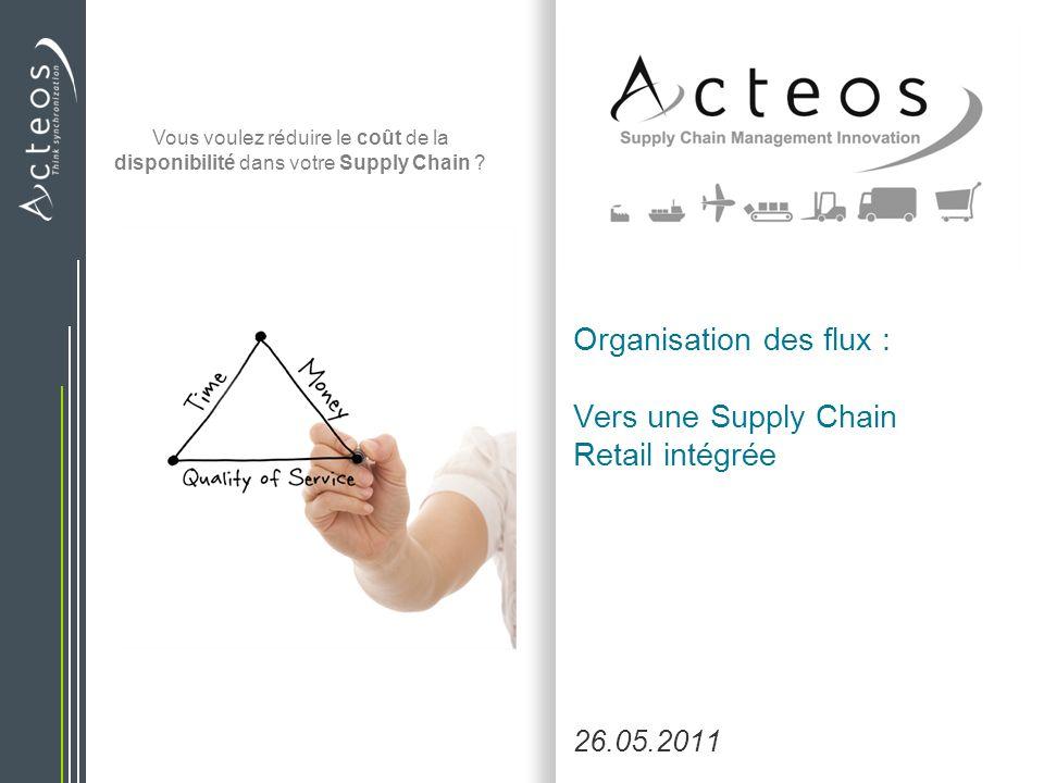 Organisation des flux : Vers une Supply Chain Retail intégrée 26.05.2011 Vous voulez réduire le coût de la disponibilité dans votre Supply Chain ?