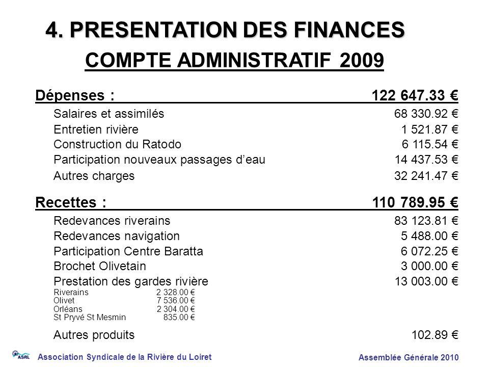 Association Syndicale de la Rivière du Loiret Assemblée Générale 2010 Dépenses :122 647.33 Salaires et assimilés68 330.92 Entretien rivière1 521.87 Co
