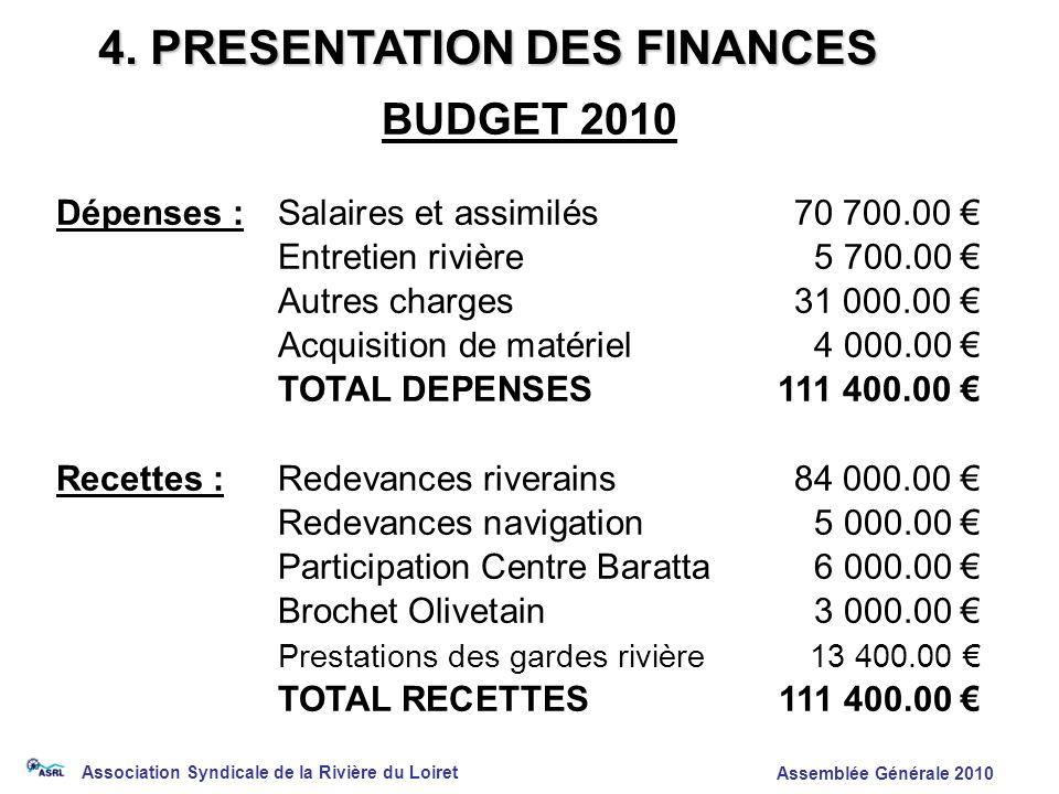 Association Syndicale de la Rivière du Loiret Assemblée Générale 2010 4. PRESENTATION DES FINANCES BUDGET 2010 Dépenses :Salaires et assimilés70 700.0