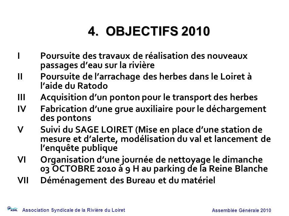 Association Syndicale de la Rivière du Loiret Assemblée Générale 2010 IPoursuite des travaux de réalisation des nouveaux passages deau sur la rivière
