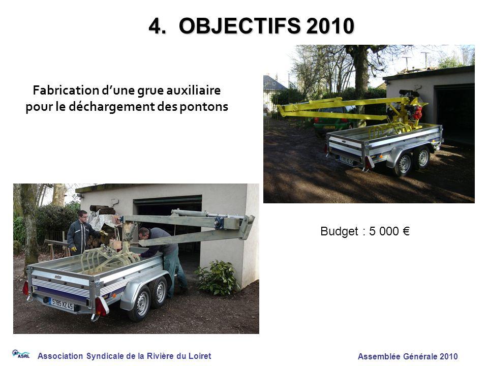 Association Syndicale de la Rivière du Loiret Assemblée Générale 2010 4. OBJECTIFS 2010 Fabrication dune grue auxiliaire pour le déchargement des pont