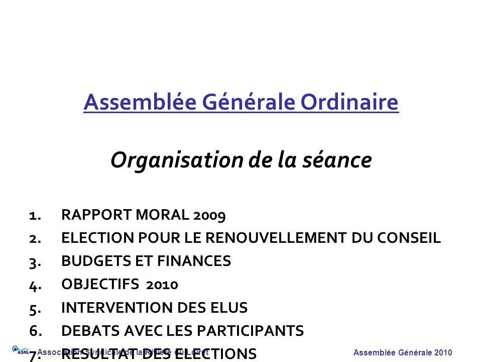 Association Syndicale de la Rivière du Loiret Assemblée Générale 2010 Assemblée Générale Ordinaire Organisation de la séance 1.RAPPORT MORAL 2009 2.EL