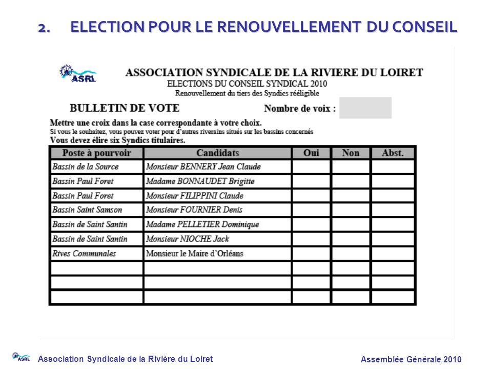 Association Syndicale de la Rivière du Loiret Assemblée Générale 2010 2. ELECTION POUR LE RENOUVELLEMENT DU CONSEIL