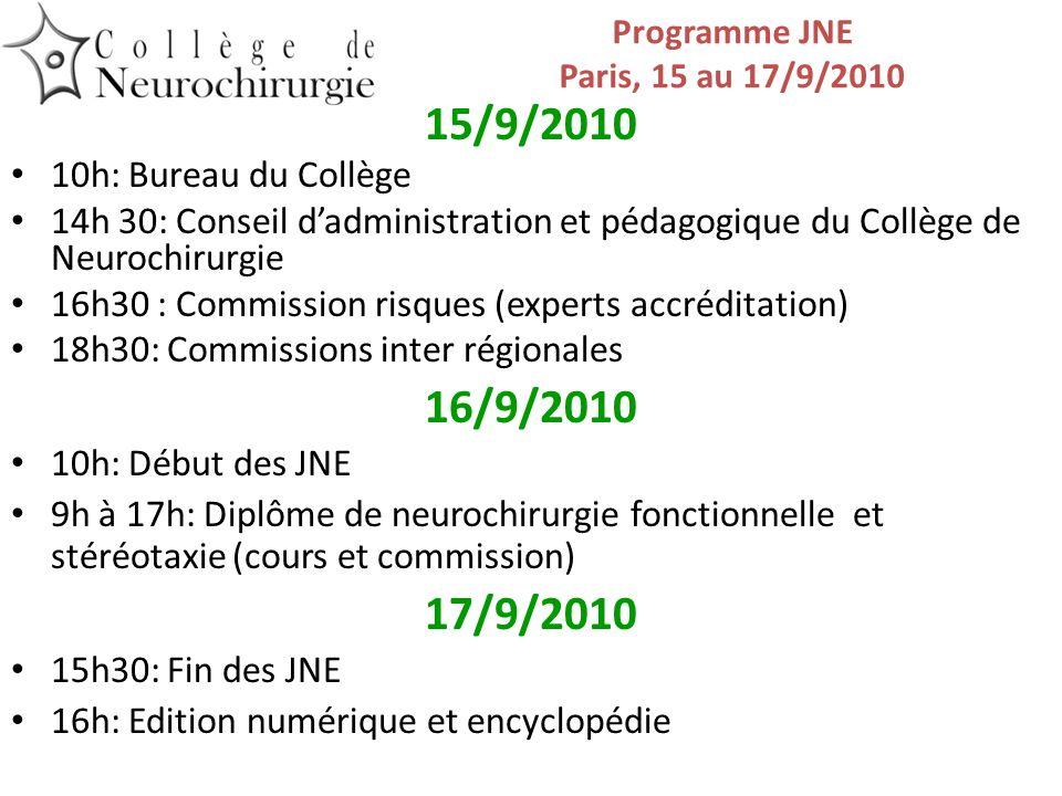Programme JNE Paris, 15 au 17/9/2010 15/9/2010 10h: Bureau du Collège 14h 30: Conseil dadministration et pédagogique du Collège de Neurochirurgie 16h3