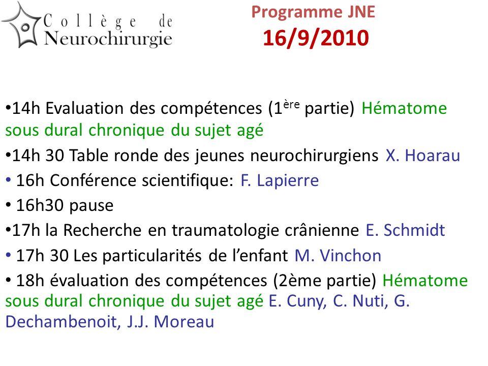 14h Evaluation des compétences (1 ère partie) Hématome sous dural chronique du sujet agé 14h 30 Table ronde des jeunes neurochirurgiens X. Hoarau 16h
