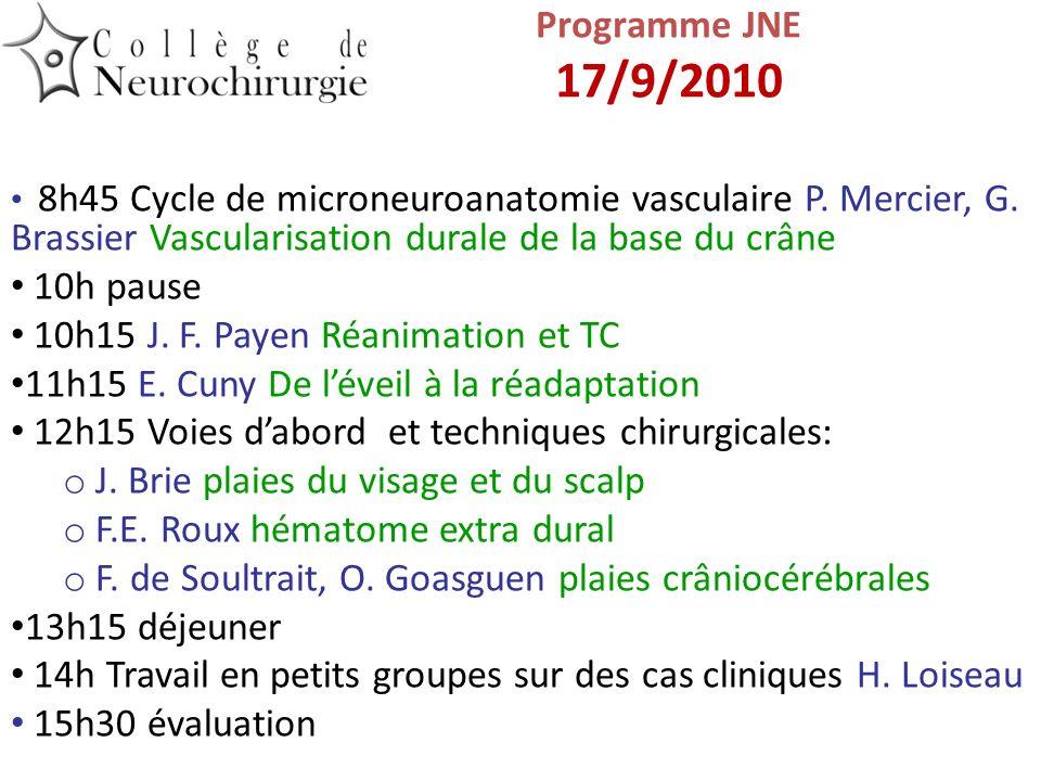 8h45 Cycle de microneuroanatomie vasculaire P. Mercier, G. Brassier Vascularisation durale de la base du crâne 10h pause 10h15 J. F. Payen Réanimation