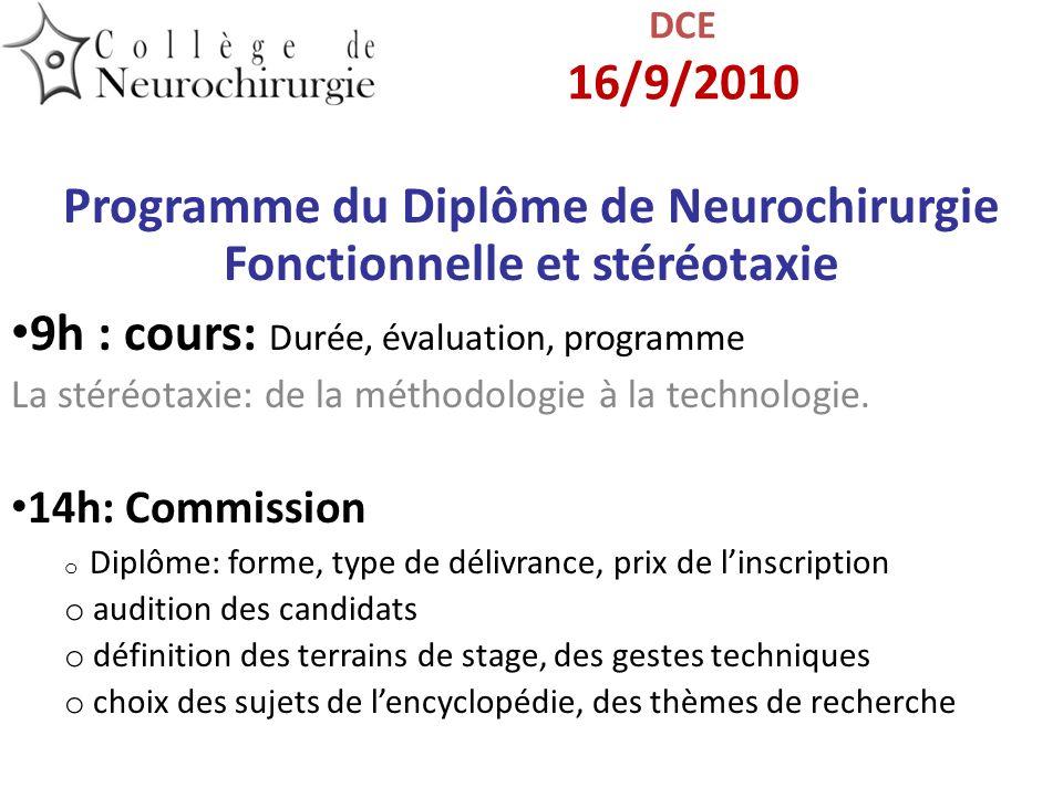 Programme du Diplôme de Neurochirurgie Fonctionnelle et stéréotaxie 9h : cours: Durée, évaluation, programme La stéréotaxie: de la méthodologie à la t