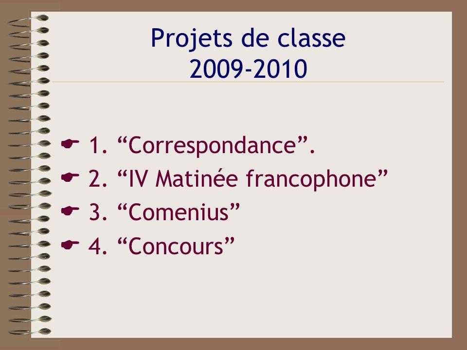 Projets de classe 2009-2010 1. Correspondance. 2. IV Matinée francophone 3. Comenius 4. Concours