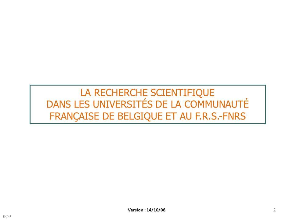 2 EK/XF LA RECHERCHE SCIENTIFIQUE DANS LES UNIVERSITÉS DE LA COMMUNAUTÉ FRANÇAISE DE BELGIQUE ET AU F.R.S.-FNRS Version : 14/10/08