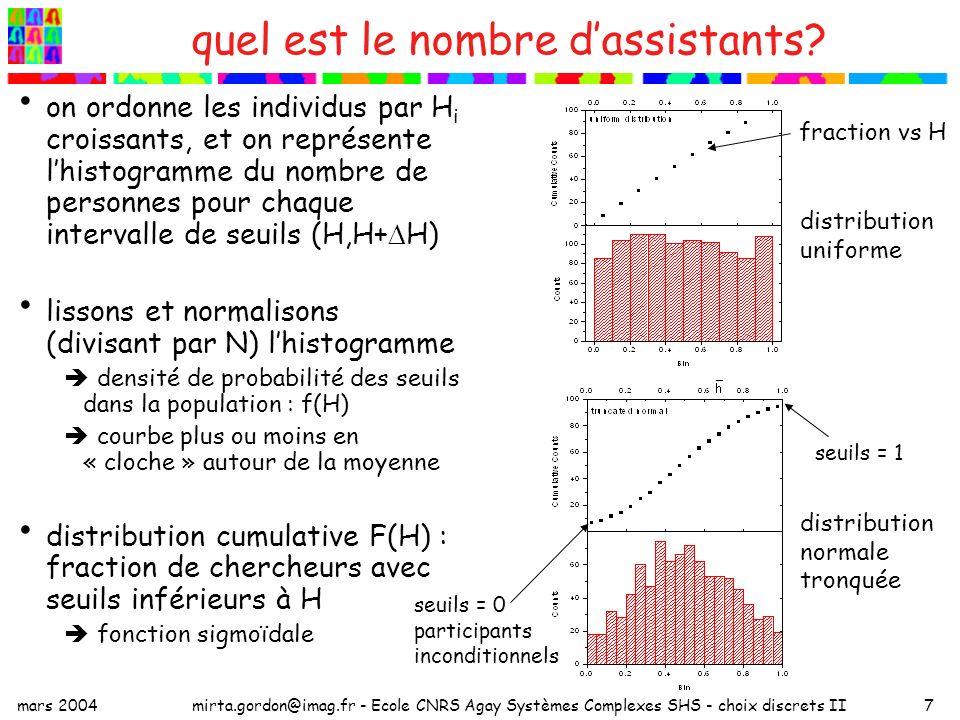 mars 2004mirta.gordon@imag.fr - Ecole CNRS Agay Systèmes Complexes SHS - choix discrets II18 choix chaque individu maximise son utilité ou surplus : où P est un seuil global, ou le prix dune unité (peut être nul) prix de réserve