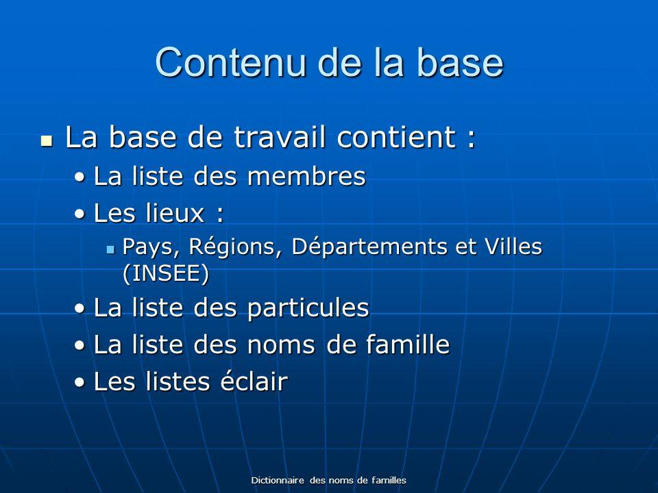 Dictionnaire des noms de familles Contenu de la base La base de travail contient : La base de travail contient : La liste des membresLa liste des memb