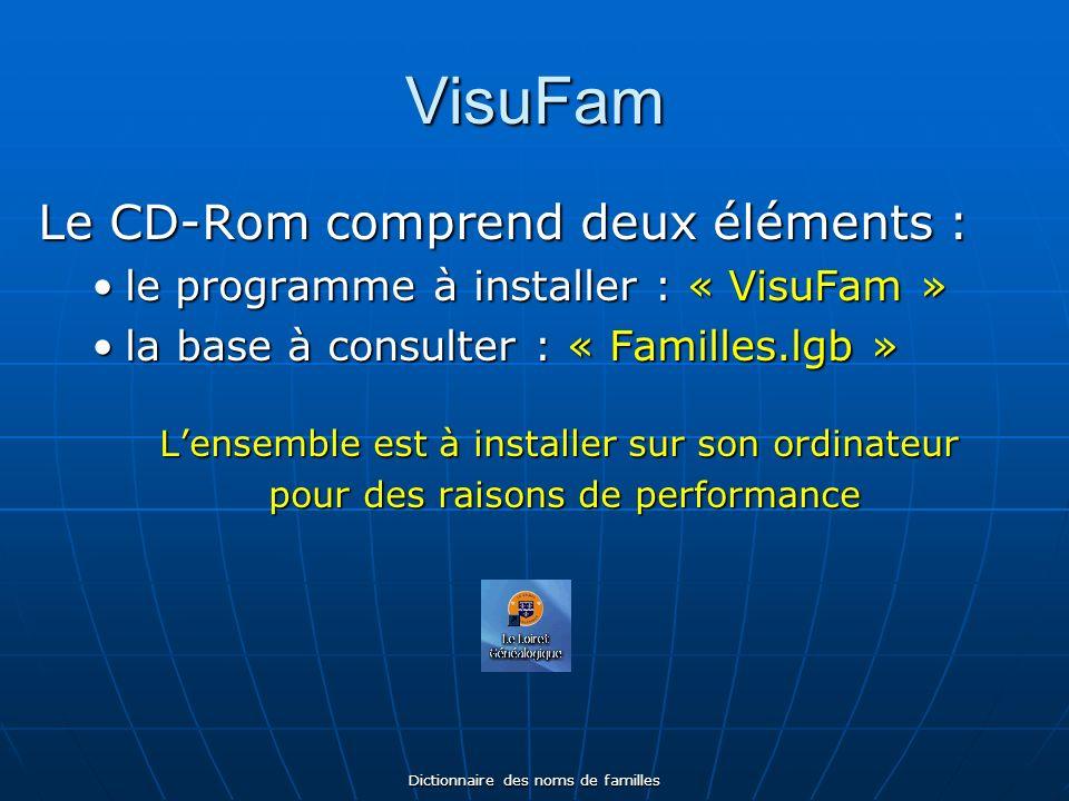 Dictionnaire des noms de familles VisuFam Le CD-Rom comprend deux éléments : le programme à installer : « VisuFam »le programme à installer : « VisuFam » la base à consulter : « Familles.lgb »la base à consulter : « Familles.lgb » Lensemble est à installer sur son ordinateur pour des raisons de performance pour des raisons de performance