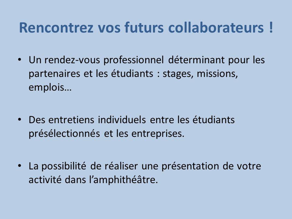 Rencontrez vos futurs collaborateurs ! Un rendez-vous professionnel déterminant pour les partenaires et les étudiants : stages, missions, emplois… Des