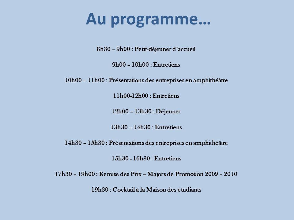 Au programme… 8h30 – 9h00 : Petit-déjeuner daccueil 9h00 – 10h00 : Entretiens 10h00 – 11h00 : Présentations des entreprises en amphithéâtre 11h00-12h0
