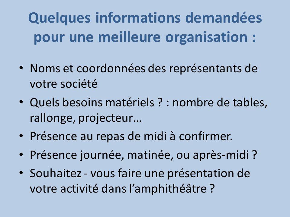 Quelques informations demandées pour une meilleure organisation : Noms et coordonnées des représentants de votre société Quels besoins matériels ? : n