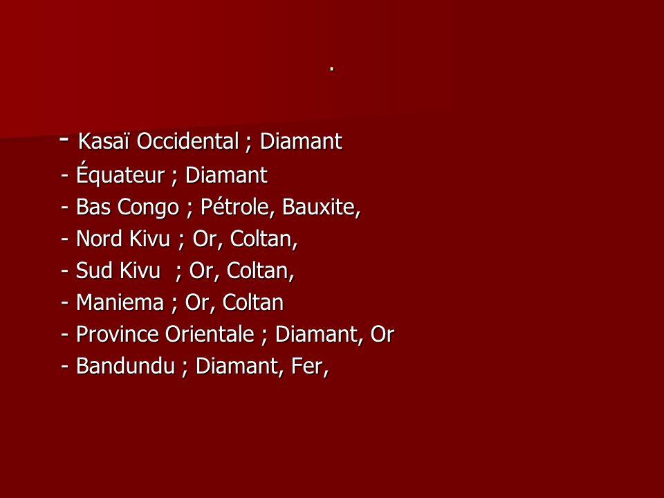 . - Kasaï Occidental ; Diamant - Kasaï Occidental ; Diamant - Équateur ; Diamant - Équateur ; Diamant - Bas Congo ; Pétrole, Bauxite, - Bas Congo ; Pé