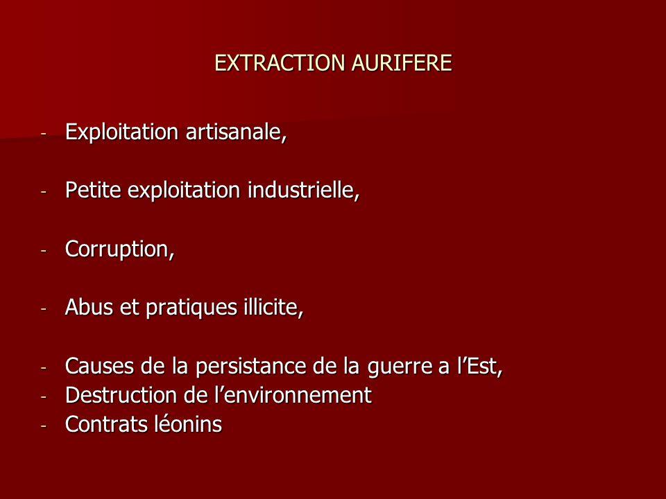 EXTRACTION AURIFERE - Exploitation artisanale, - Petite exploitation industrielle, - Corruption, - Abus et pratiques illicite, - Causes de la persista