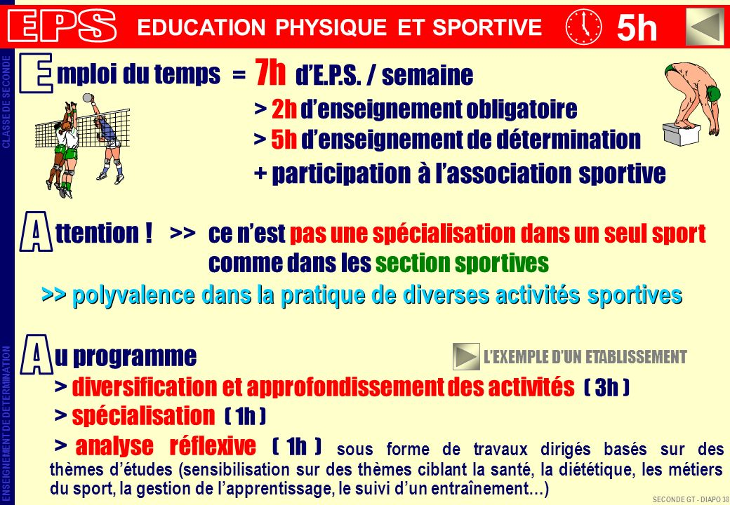 5h ENSEIGNEMENT DE DETERMINATION CLASSE DE SECONDE EDUCATION PHYSIQUE ET SPORTIVE mploi du temps = 7h dE.P.S.