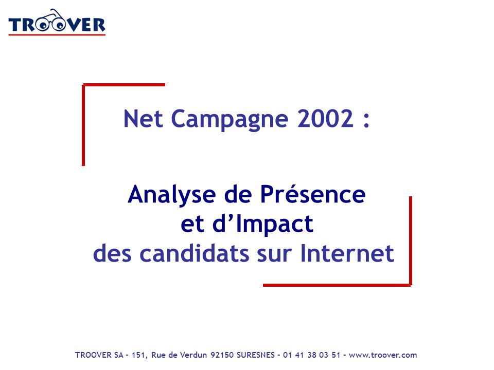 1 Net Campagne 2002 : Analyse de Présence et dImpact des Candidats sur Internet m e s u r e d a u d i e n c e s Retour site Net Campagne 2002 : Analys