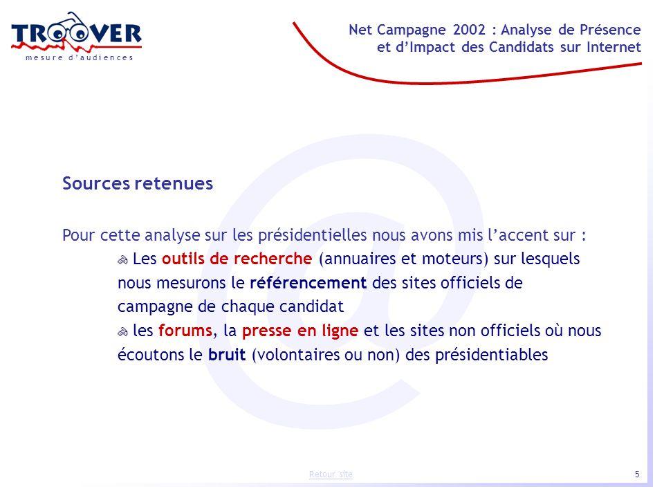 5 Net Campagne 2002 : Analyse de Présence et dImpact des Candidats sur Internet m e s u r e d a u d i e n c e s Retour site @ Sources retenues Pour ce